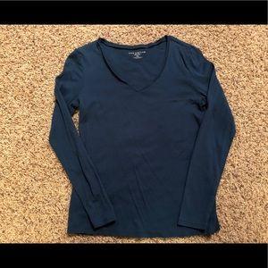 Ann Taylor blue long sleeved shirt medium petite